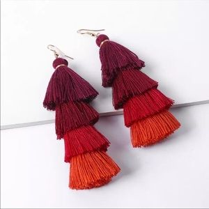 New!! Zara Red Silk Tassel Earrings